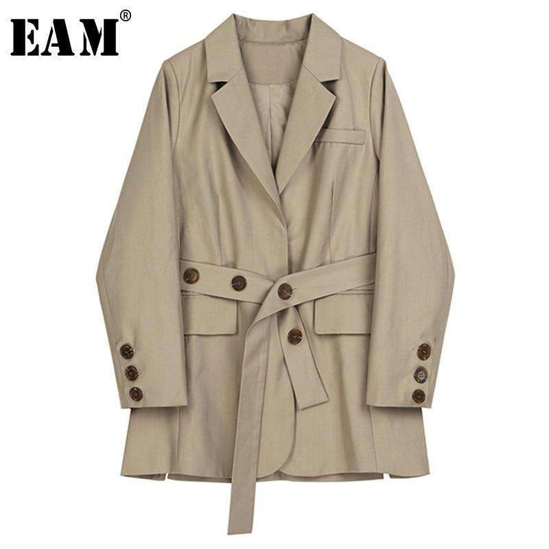 [EAM]  Women Khaki Waist Bandage Temperament Blazer New Lapel Long Sleeve Loose Fit  Jacket Fashion Spring Autumn 2020 1B484