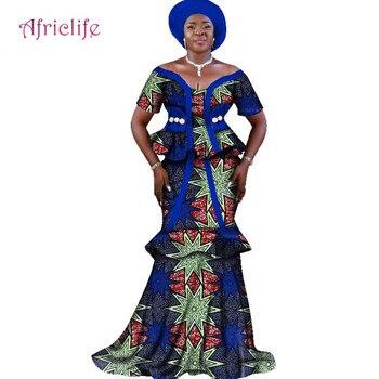 African Ankara Print Skirt Set Unique Handmade Mermaid Skirt and Top Set Clothing Wedding Guest Dress Skirt with Head Tie WY2515