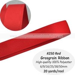 (20 Yards) 6mm 9mm 16mm 25mm 38mm 50mm #250 ruban gros-grain rouge haute qualité 100% Polyester gros-grain rubans bricolage couture artisanat