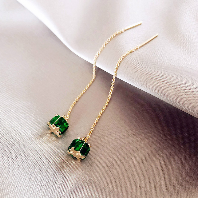 2020 New Arrival Korea Green Crystal Classic Drop Earrings For Women Square Simple Elegant Fashion Geometric Jewelry