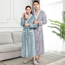 Women Men Bathrobe Nightgow Flannel Fleece Robe With Belt Sleepwear 2019 Thicken Warm Autumn Winter Home Couple
