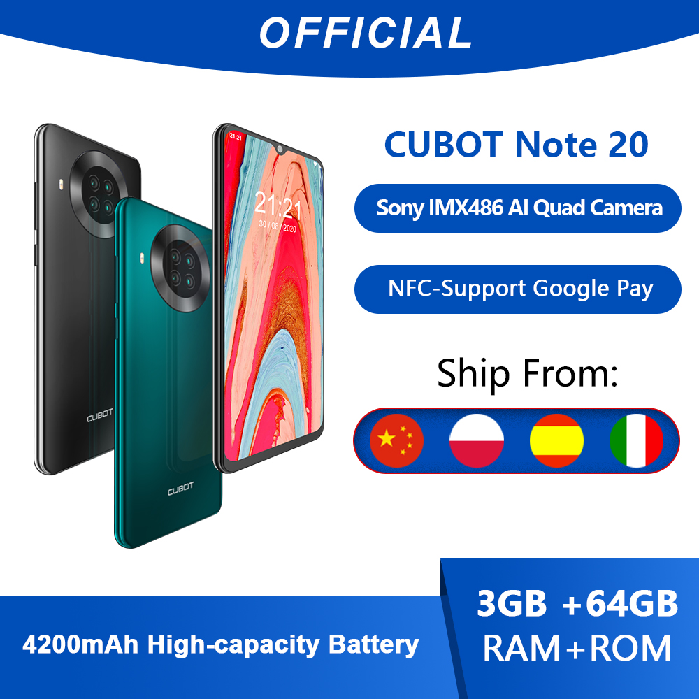 Cubot Note 20 Vierfach-Kamera android smartphone ohne vertrag NFC 3GB + 64GB 6,5 Zoll 4200mAh Google smartphone android 10 dual sim smartphone unter 100 euro Karte handy 4G LTE celular smartphone 64gb cubot smartphone