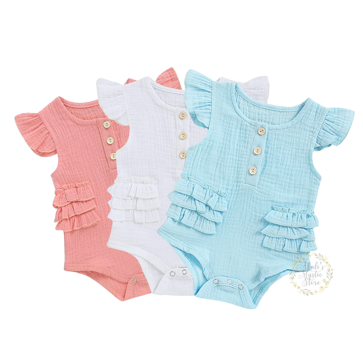 0-18M Newborn Infant Baby Girls Romper Summer Soft Ruffles Baby Jumpsuit Solid Playsuit Sunsuit Cute Baby Girl Costumes
