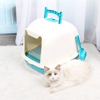 Caja de arena para gatos, fácil de limpiar, totalmente cerrada, bandeja de baño para mascotas, salpicaduras y a prueba de desodorizante, caja de arena para gatos con pala, caja de arena para mascotas