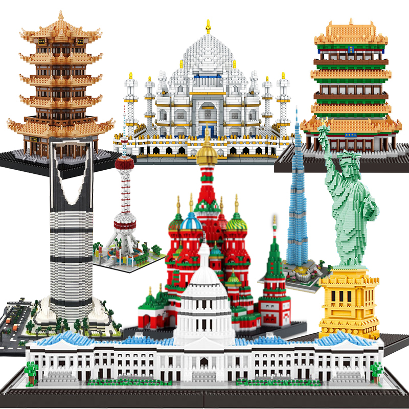 Diamond NO Compatible Legoed City Architecture Temple Of Heaven Sets Building Bricks Eiffel Tower Taj Mahal Mini Blocks