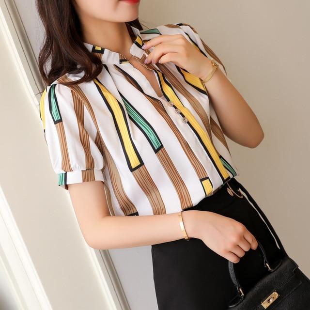 Korean Fashion Chiffon Women Shirts Office Lady Women Blouses Plus Size Womens Tops and Blouses Ladies Tops Femininas Elegante 1
