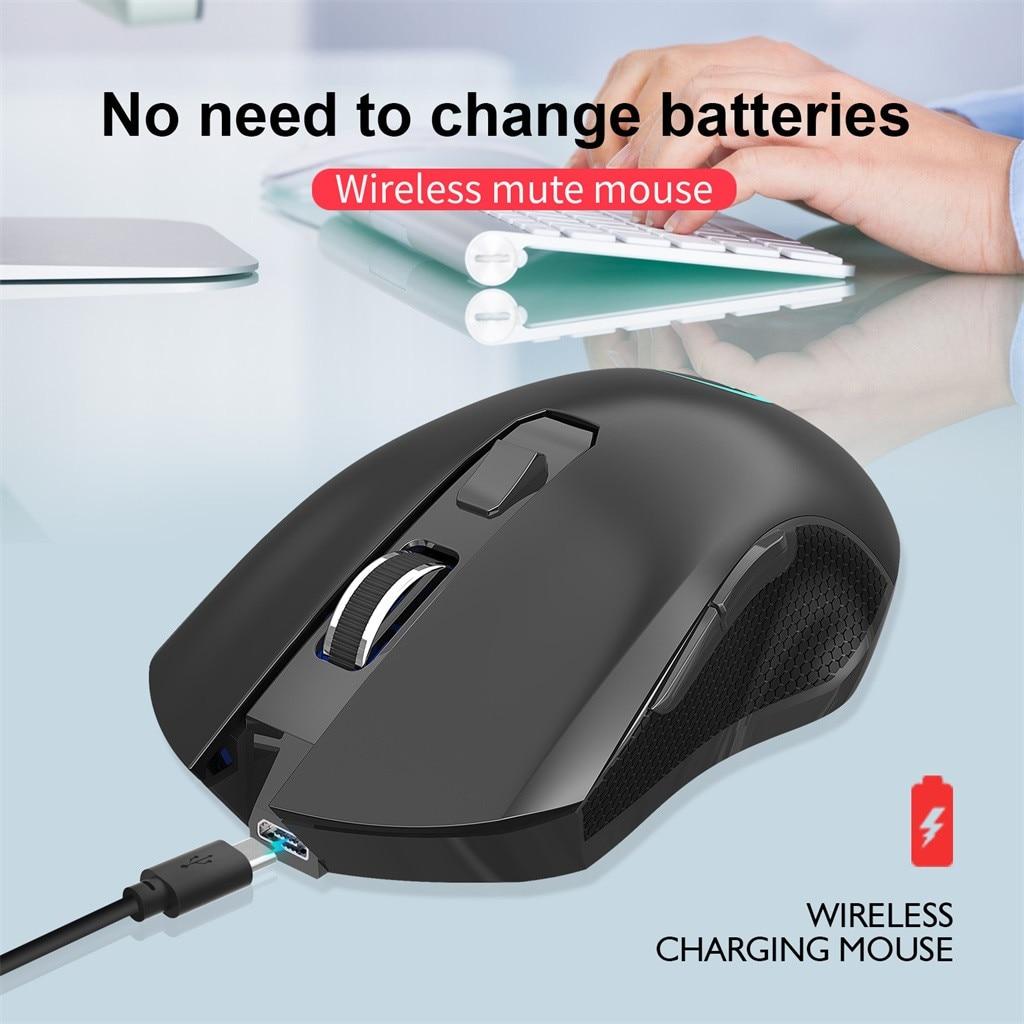 2,4G USB Беспроводной 6 кнопок Мышь Красочные освещение 3 режима 2400 Точек на дюйм регулируемый Перезаряжаемые бесшумный щелчок Игровые мыши Офи...