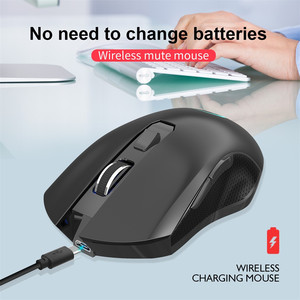 2.4G USB Wireless 6 Buttons Mouse Colorful Lighting 3 Modes 2400DPI Adjustable Rechargeable Silent Click Gaming Mice Home Office