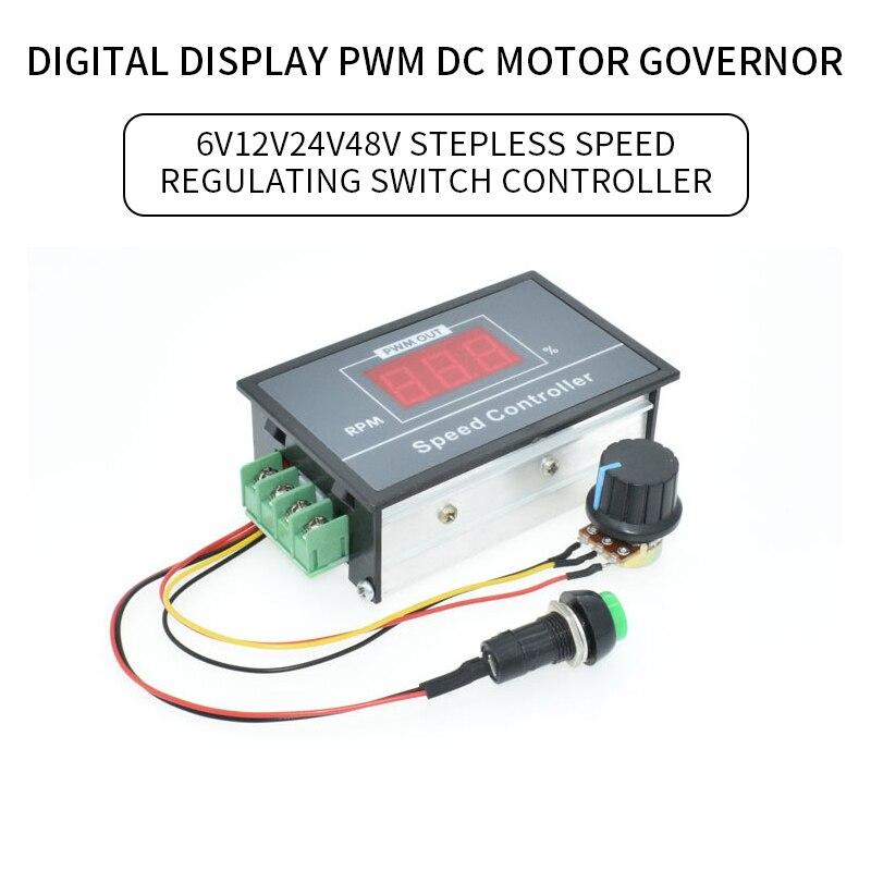 30A דיגיטלי LED תצוגת 0 ~ 100% מתכוונן DC 6V 12V 24V 48V מנוע מהירות בקר PWM מנוע DC בקרת מהירות מתג