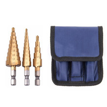 Brocas de perfuração de aço titânio hss 3pac, brocas de 3-12mm 4-12mm 4-20mm, 3 peças conjunto de perfuração de madeira, ferramentas de corte do cone, trabalho em madeira, metal