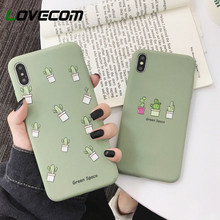 LOVECOM Cute Green Cactus Milk Tea Bottle Phone Case For iPhone XR X XS Max 7 8 6S Plus Case Candy Color Soft Phone Back Cover(China)