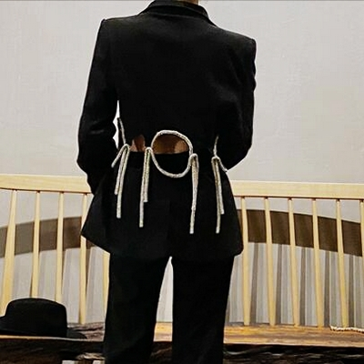 2020 Spring Black Suit Blazers Women Hollow Out Outerwear Straps Medium Long Suit Jacket Coat Female Elegant Designer LT836S30
