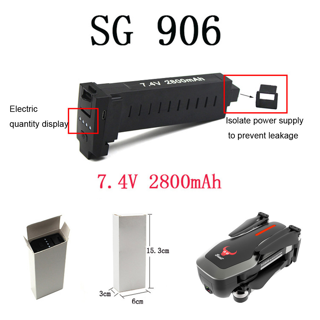 1PC <font><b>7.4V</b></font> <font><b>2800mAh</b></font> <font><b>Battery</b></font> +USB Charger Cable For SG906 GPS Quadcopter Durable Accessories Kids toys Juguetes Zabawki Brinquedos image