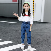 Get more info on the Kids Pants Girls Fashion Bow High Waist Big Dot Jeans Casual Trousers 2019 Spring Autumn Children's Elastic Denim Pencil Pants