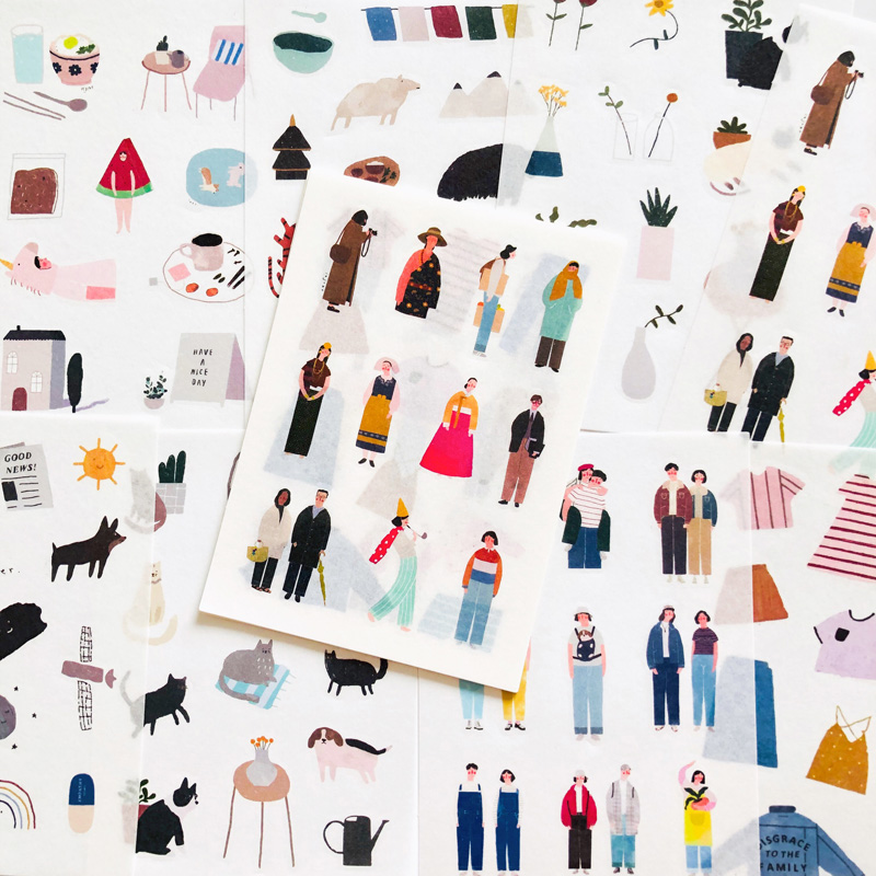 8 Sheets  Small Town Life Washi Paper Diary Sticker Notebook Computer Phone DIY Decorative Stickers