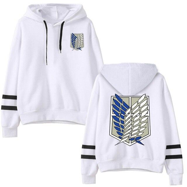 Attack on Titan Long Sleeved Striped Hooded Sweatshirt Pullover Tops Harajuku 4