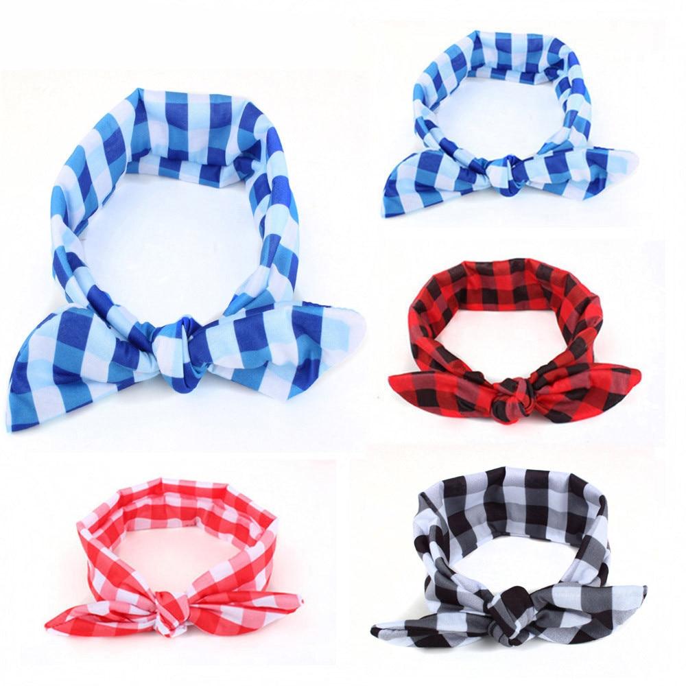 Newborn Toddler Baby Girls Head Wrap Knot  Baby Plaid Bowknot Rabbit Ears Elastic Cloth Headband  Headband Hair Accessories