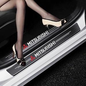 Carro-Styling 4PCS Decalques Adesivo de Fibra De Carbono De Fibra De Carbono do Peitoril Da Porta Para Mitsubishi asx lancer pajero outlander xl 3 4 l200