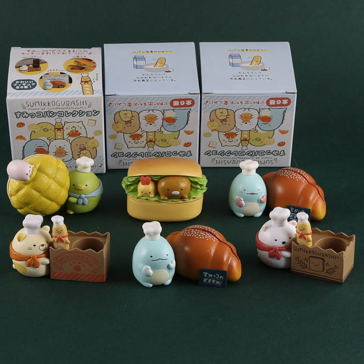 6pcs/lots Japan Chef Series Corner Creature Ornaments Decorative Bread Toast Burger Action Figures Vinyl Doll  WJ01