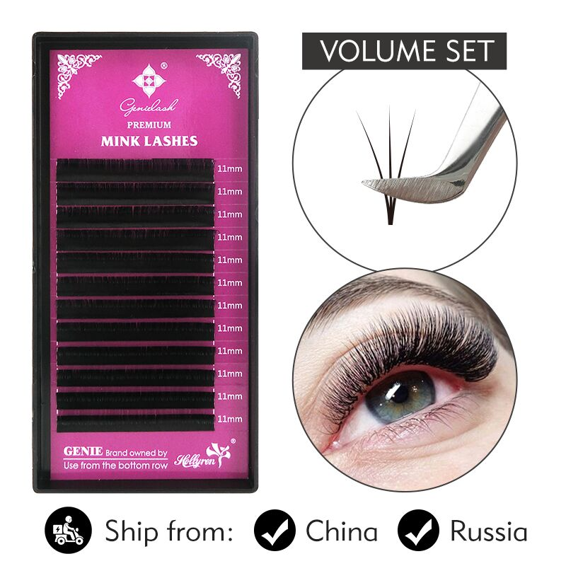 Genielash Russian Volume Eyelash Extensions 0.07 Individual Eyelashes Professional Mink Lash Extensions Makeup Lashes