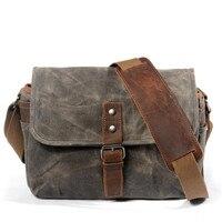 Bolso de lona de cera de aceite Vintage para hombre, bolso bandolera informal para hombre, bolso de mensajero para hombre, bolso de viaje para cámara DSLR a prueba de golpes