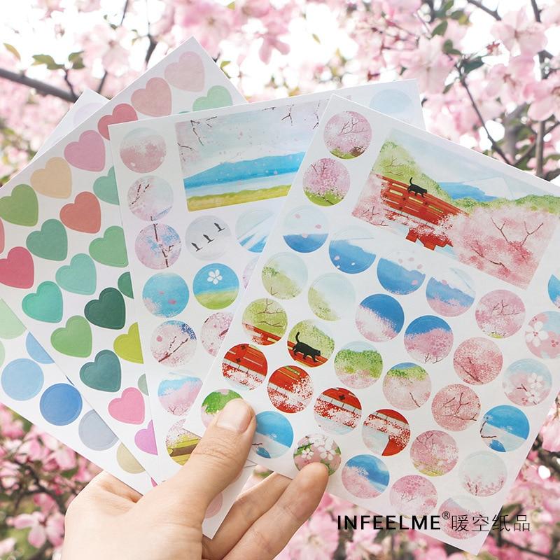 4 Pcs/set The Song Of Spring Sakura Bumper Stickers Scrapbooking DIY Bullet Journal Stationery Sticker School Office Supplies