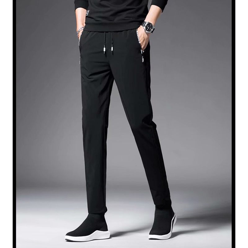 Summer Thin Men's Sports Pants Men Casual Pants Korean Elasticity Feet Quick Dry Pants Straight Brand Business Suit Trousers 4