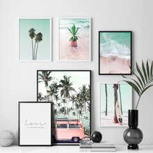 Pink Bus Coconut Tree Pineapple Sea Beach Wall Art Canvas Painting Nordic Posters And Prints Wall Pictures For Living Room Decor цена и фото