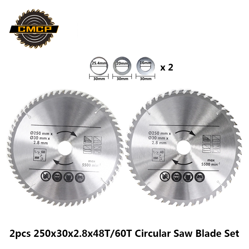 2pcs 250x2.8x30mm 48T/60T Wood Saw Blade Set TCT Circular Saw Blade For Power Tool Carbide Cutting Disc