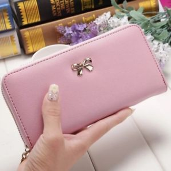 Card Holder Wallets Ladies Cute Bowknot Women Long Wallet Clutch Bag 2020 Woman Girl PU Leather Purse Phone Card Holder Bag women cell phone bag shoulder transparent bag card holders girl handbag ladies pu leather clutch phone wallets purse 2020