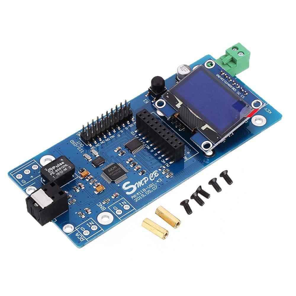 ดิจิตอลบอร์ด AK4118 เครื่องถอดรหัสเสียง DAC SPDIF to IIS Coaxial Optical USB AES EBU อินพุต XMOS Amanero 1.3 นิ้ว OLED