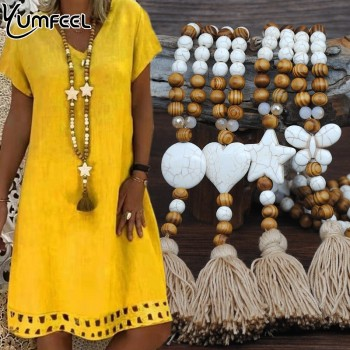 Yumfeel New Bohemian Necklace Handmade Stones Tassels Wood Beads Necklace Long Women Jewelry Gifts 1