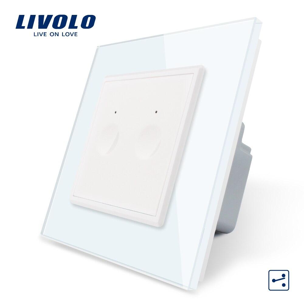 Livolo Стандартный сенсорный выключатель ЕС, 2 банды, 2 способа управления, 7 цветов, кристальная стеклянная панель, настенный светильник, 220-250 В, без логотипа