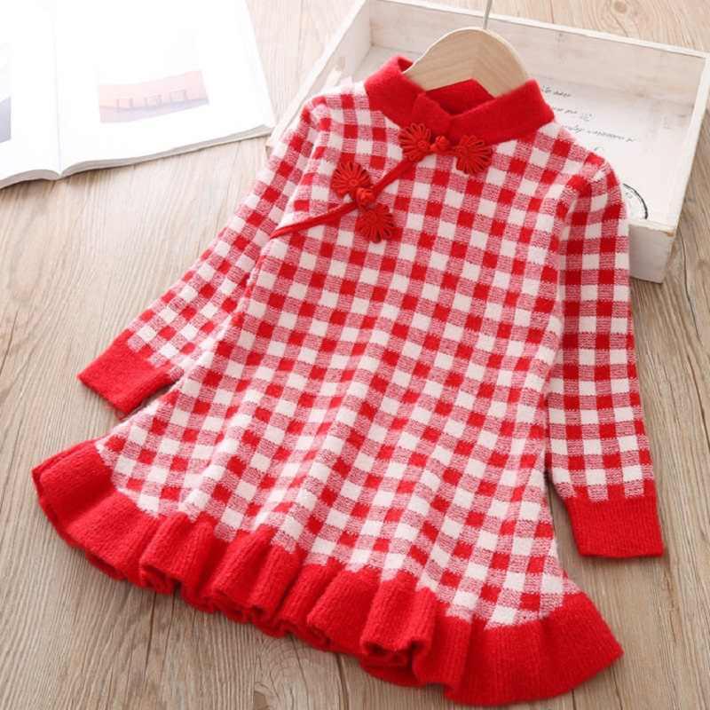 Ilkbahar sonbahar kış bebek elbise sıcak leopar baskı uzun kollu örme elbise çocuk giysileri çocuk elbiseleri için 1-6y yürümeye başlayan bebek