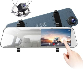 цена на Full HD 1080P 5 LCD Mirror Dash Cam Rear View Mirror Camera Ultra-Thin Touch Screen Dash Cam Front and Rear Dual Lens dashcam