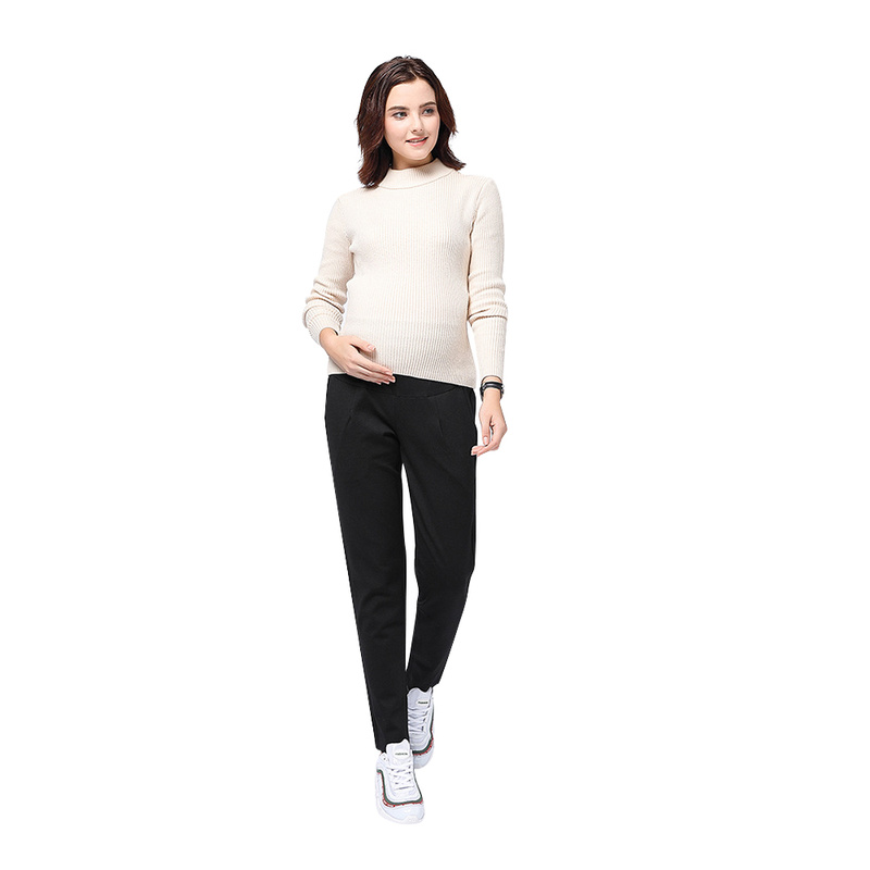 Pregnant Women Warm Comfortable Adjustable Maternity Pant  High Stretch Knit Slim Waist Pants