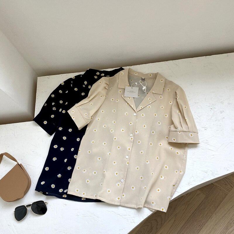 Daisy Floral Shirt Women's Suit Collar Shirts