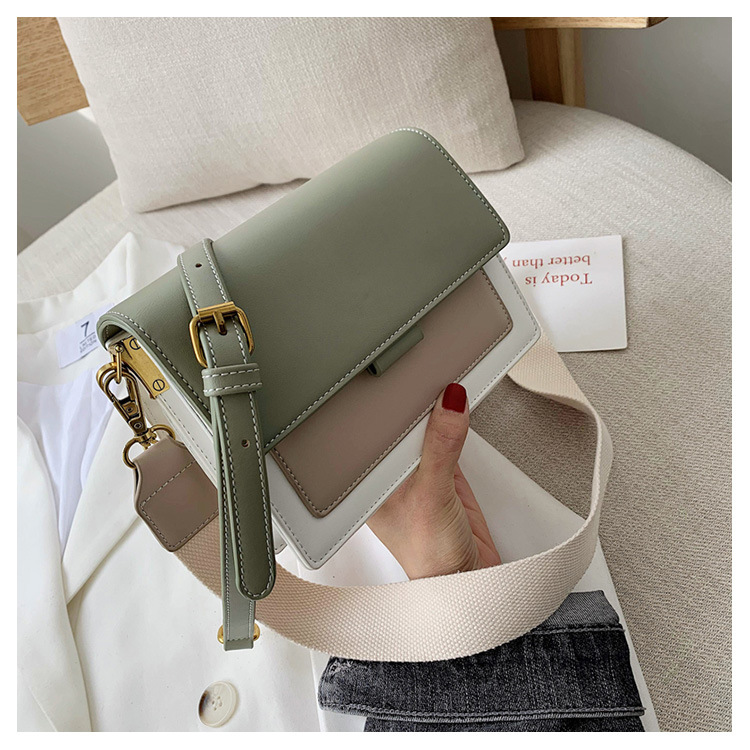 PU Leather Crossbody Bags For Women Shoulder Messenger Bag Chain Purses and Handbags Designer Lady Luxury Splicing Contrast