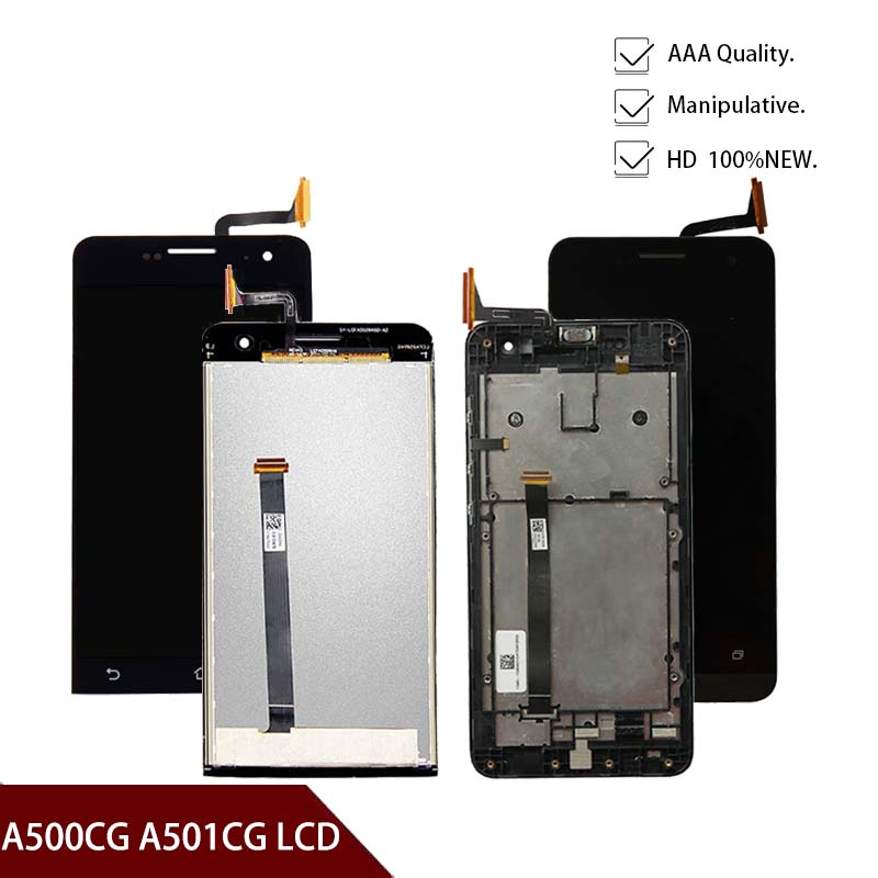 5.0'' Display For ASUS Zenfone 5 LCD Display Touch Screen Digitizer For T00J A500KL A500CG A501CG LCD Screen With Frame