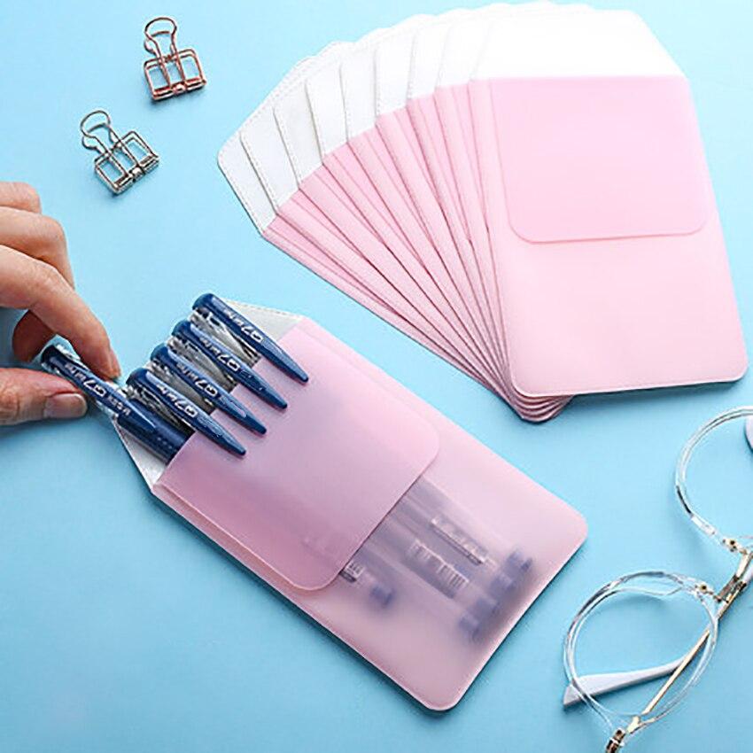 1PC Candy Color Prevent Leaks Ink Pencil Case Medical Staff Supplies Pen Hanging Slot Bag PVC Plastic Ballpoint Pen Pouch