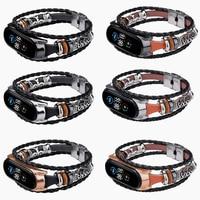 Mi Band 6 5 Riem Mode Lederen Kralen Armband Voor Xiaomi Mi Band 6 4 3 Vintage Strap Vervanging Mi Mix 4 5 Correa Retro