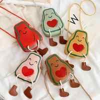 Monedero de cuero PU de moda para bebés y niñas, minibolso cruzado con dibujo de aguacate para niños, monedero con bolsillo para niños