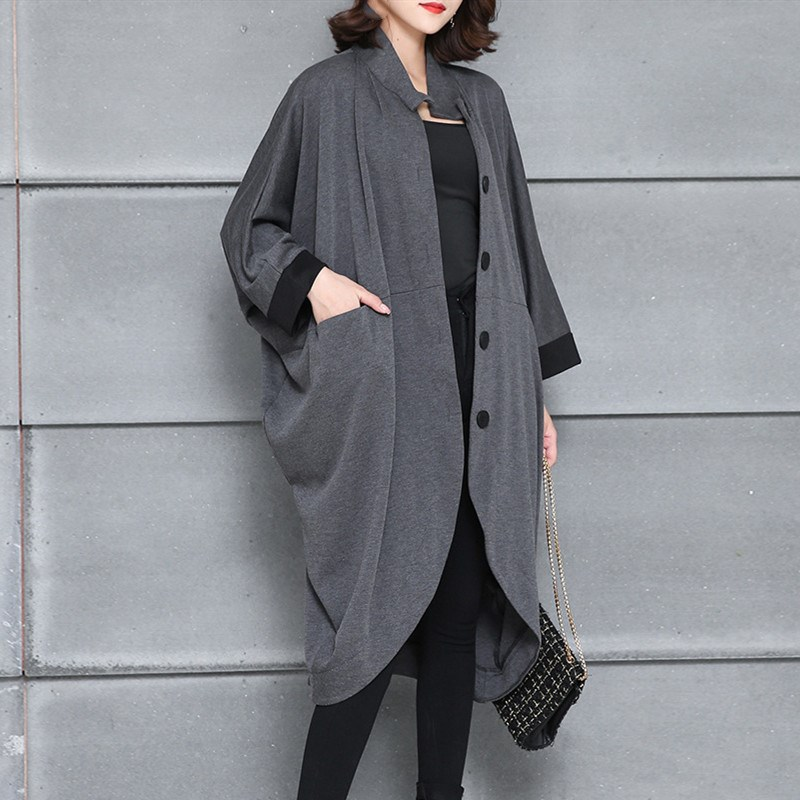 2019 Women Irregular Turn-Down Collar   Trench   Overcoat Solid Color Loose Coat Single-Breasted Long Women   Trench