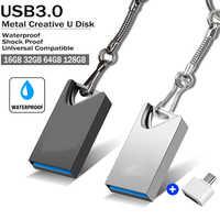 Mini Cle USB 3.0 Pendrive 128 GB USB Flash Drive 128 GB 64GB 32GB 16GB OTG Penna drive di Memoria del Bastone Piccolo Flash Disk con la catena chiave