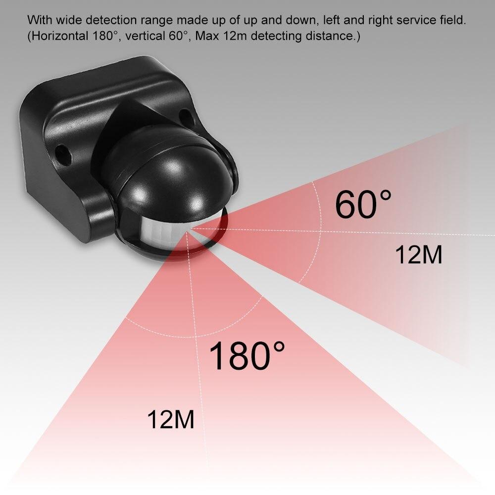 AC 110V-240V czujnik ruchu na podczerwień PIR przełącznik 180 stopni detekcja ruchu czas opóźnienia regulowany wodoodporna na zewnątrz kryty