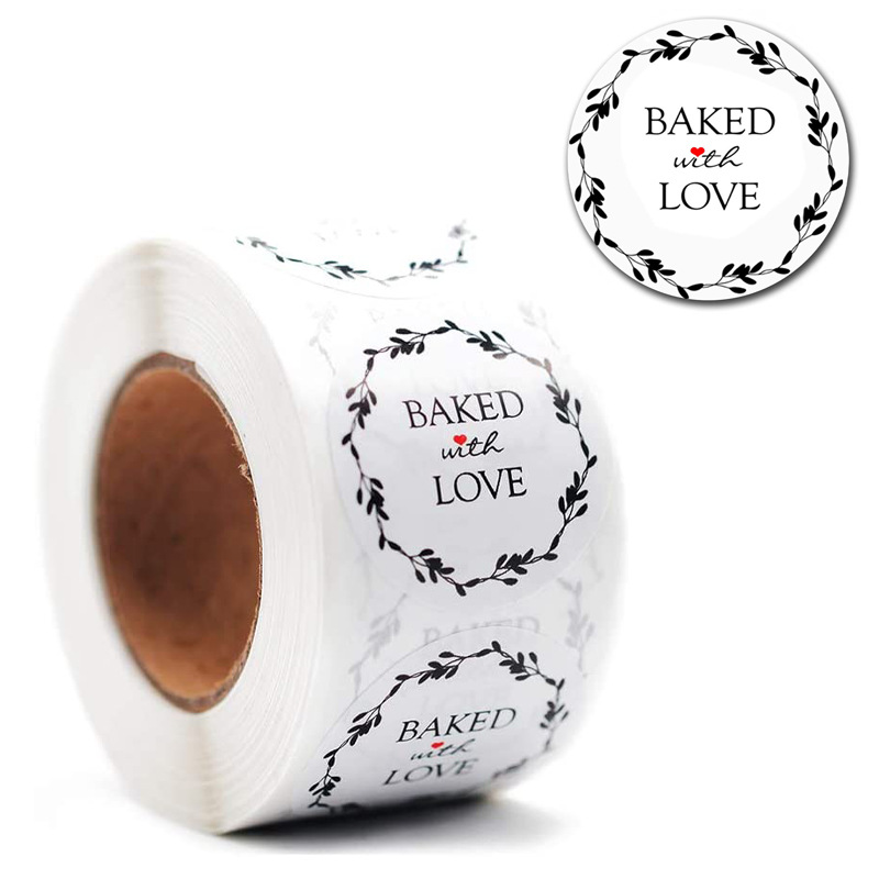 500pcs Round Bake With Love Sticker Heart Thanks For Shopping Small Shop Local Handmade Sticker White Labels Sticker