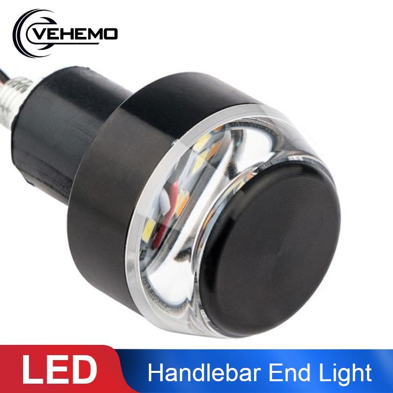1x Universal 22mm Motorcycle LED Handlebar End Turn Signal Light Yellow Indicator Flasher Handle Bar Blinker Side Marker Lamp