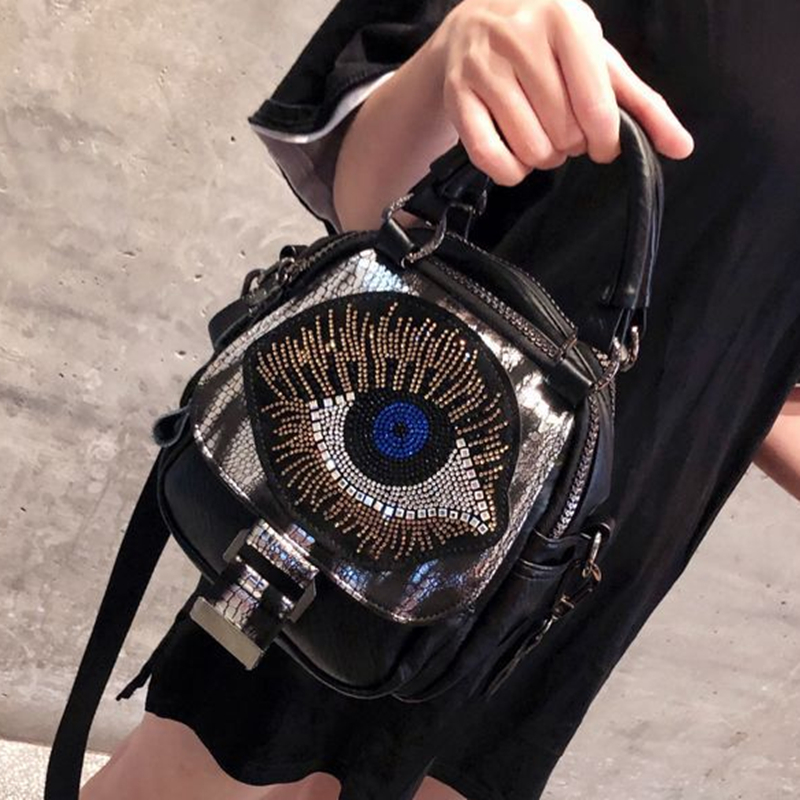 Shiny Rhinestone Big Eye Handbag Women High Quality Pu Leather Diamonds Shoulder Bag Female Soft Multi-pockets Messenger Bag
