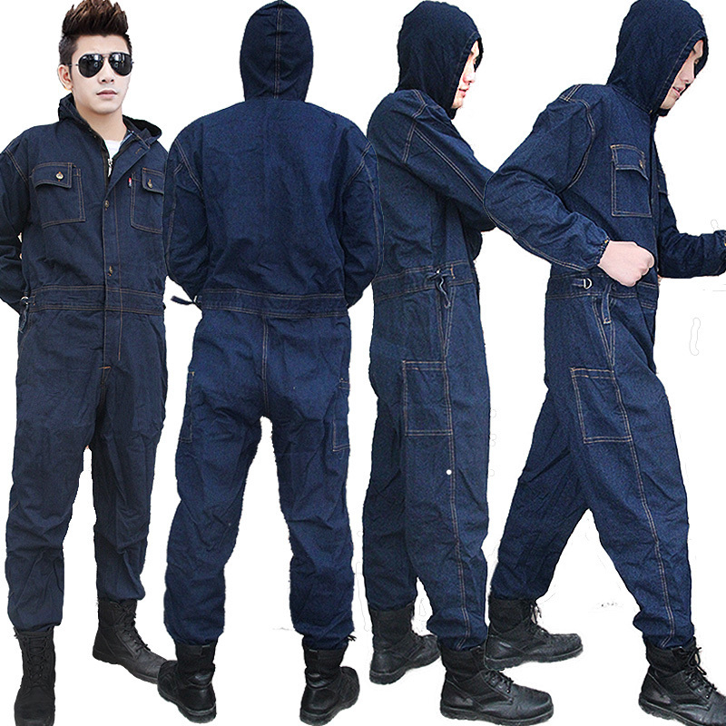 Welding Denim Overalls Workwear Clothes Men Women Long Sleeves Workmen Work Button Jumpsuit Workshop Mechanical Working Coverall