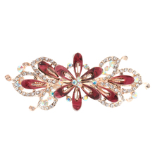 New Shiny Crystal Rhinestone Flower Hair Spring Clip Women Jewelry Wine Red Accessory